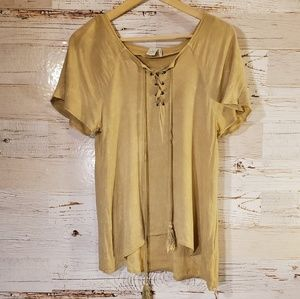 Paper Crane lace up short sleeve top